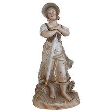 Rare Early German Bisque Gebruder Heubach Farm Girl figurine - In the Wheat