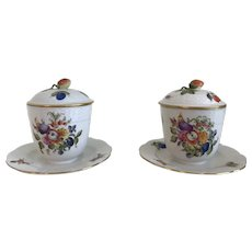 Herend Fruits and Flowers/Insects with Strawberry lid Jam/Jelly with Underplate- Circa 1930's