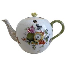 Herend Fruits and Flowers/Insects Large Tea Pot with Asparagus Handle and Yellow Rose Lid- Circa 1930's