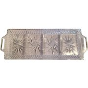 Crystal cut glass tray, 4 section handled starburst design, etched Star of David