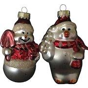 Set of 2 Vintage Ornaments Mercury Glass Snowman