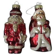 Set of 2 Vintage Ornaments Mercury Glass Snowman. Christmas
