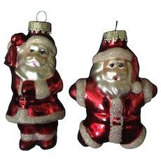 Set of 2 Mercury Glass Santa Ornaments.  Christmas