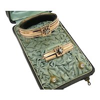 Beautiful Victorian 14k Rose Gold and Diamond Suite of Jewelry with Original Satin Lined Box