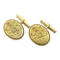 Fine Estate 18k and 14k Yellow Gold Crest Cufflinks