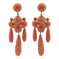 Impressive and Elegant Victorian Coral Earrings in 14k