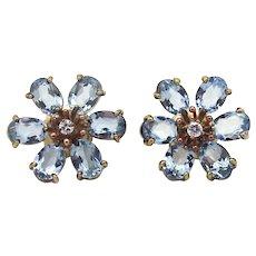 Fine Estate 14k Aquamarine and Diamond Flower Earrings