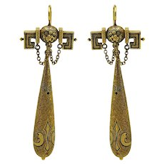Victorian Etruscan Revival Earrings in 18K