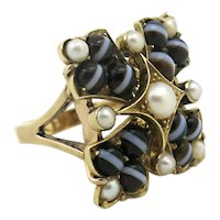 Unique 14k Antique Victorian Banded Agate Conversion Ring with Pearls