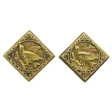 14k Yellow Gold Whimsical Victorian Bird Earrings