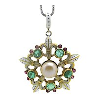 Colorful Vintage Enamel Pendant with Emeralds and Rubies