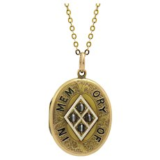 14k Antique Mourning Locket 'In Memory Of' with Engraving on Reverse, Dated 1891
