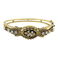 Estate Bangle Bracelet with Onyx, Diamonds and Opals in 14k Yellow Gold