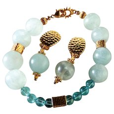 Aquamarine and Apatite Bracelet and Earring Set