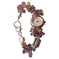 A Silver Watch Featuring Ametrine Beads