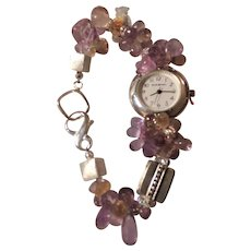 A Silver Watch Featuring Ametrine Beads
