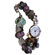 Bracelet Watch Featuring Labradorite, Ametrine and Cat's Eye
