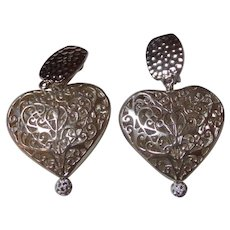 Heart  Earrings with Clip Backs and Rhinestone Bling