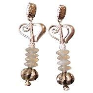 Heart Earrings Featuring Silverite Discs