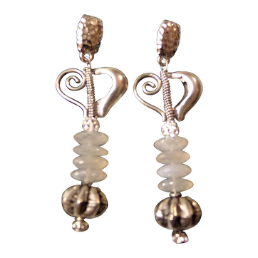 Heart Earrings Featuring Silverite Discs