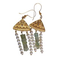 Gold Vermeil  and Aquamarine Earrings