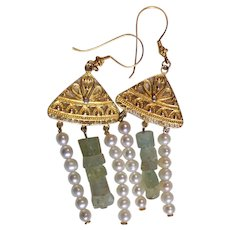Gold Vermeil  and Aquamarine Earrings