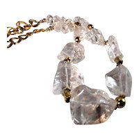 Hand Chiseled Natural  Quartz Necklace featuring Large Nuggets