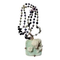 Pale Green Natural Apophyllite  Necklace on a Sapphire Chain