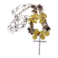 Lemon Quartz Necklace Featuring Large Teardrop Beads with a Silver Rhinestone Cross