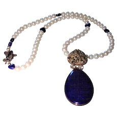 Lapis and Pyrite  Pendant Necklace