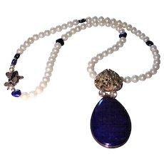 Lapis and Pyrite  Pendant Necklace