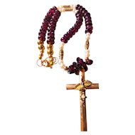 Vintage Cross Necklace Featuring Garnet Beads and Fresh Water Pearls