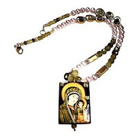 """Grossular Garnet and Pearl Necklace with """"Blessed Mother and Baby Jesus"""" Focal"""