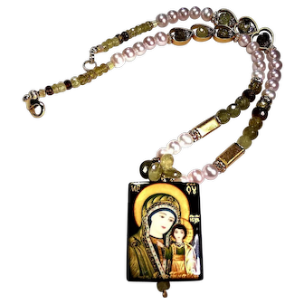 "Grossular Garnet and Pearl Necklace with ""Blessed Mother and Baby Jesus"" Focal"