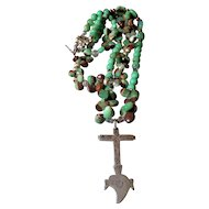 Vintage Cross with Chrysoprase Beads