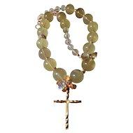 Cross Necklace Featuring Lemon Quartz