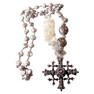 Mexican Silver Cross Necklace