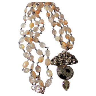 Pyrite Dream Necklace with Focal of Ammonite and Green Amethyst