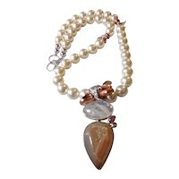 Crystal Pearl Necklace featuring a Focal of Moonstone and Druzy