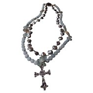 Cross Necklace of Matte Aquamarine Bead and Fresh Water Pearls