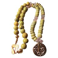 """Prayer Locket Necklace featuring """"Yellow Turquoise"""" and Rose Quartz"""