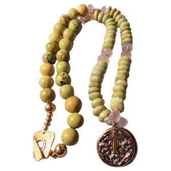 "Prayer Locket Necklace featuring ""Yellow Turquoise"" and Rose Quartz"