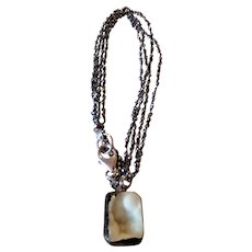 Ivory Druzy Necklace with Pyrite chain