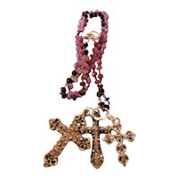 Three Cross Necklace on Ruby Chain