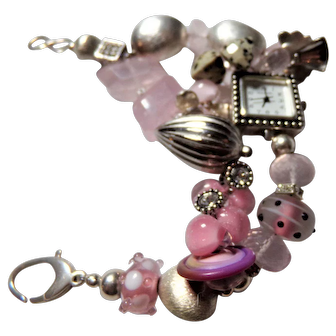 Watch Bracelet featuring Rose Quartz