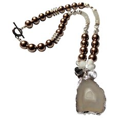 Iris Agate Slice with White Druzy Center Pendant Necklace
