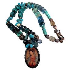 Our Lady of Guadalupe Necklace Featuring Turquoise and Fluorite