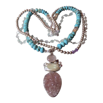 Kingman Turquoise Necklace with Amethyst Druzzy Necklace