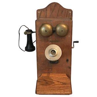 Antique Western Electric Oak Hand Crank Telephone