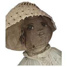 Antique Litho Printed Face & Body Cloth rag Doll 1905 Signed Tambour Lace Dress